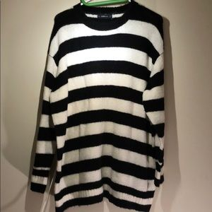 Zara Black and White Striped Oversized Sweater